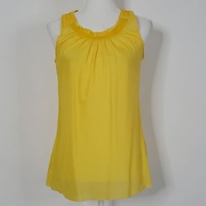 Tory Burch Yellow Sleeveless Cotton Blouse Sz 6